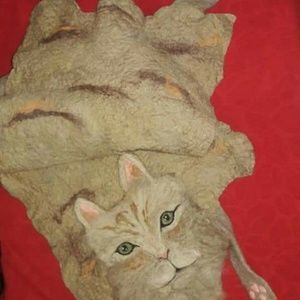 Vintage Bohemian wool art felted cat scarf